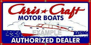 Chris Craft Motor Boats Vintage Sign Remake Old School Banner Garage Art 2 X 4 Ebay