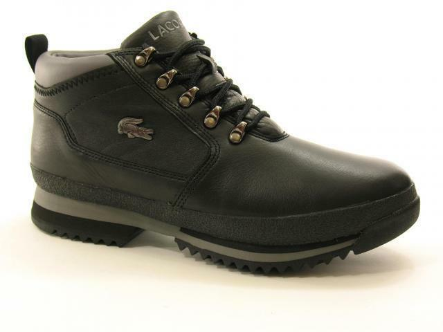 Lacoste Mens Upton Hiker Leather Boots Black Grey
