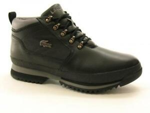 84f1e237bd9 Image is loading Lacoste-Mens-Upton-Hiker-Leather-Boots-Black-Grey
