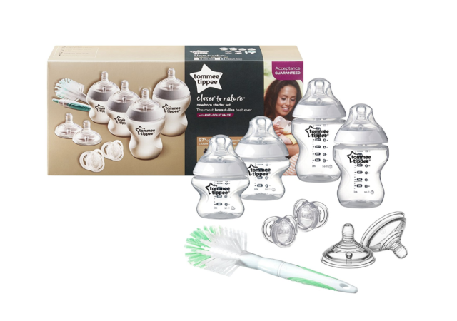 Tommee Tippee Complete Newborn Baby Starter Bottle Kit 4 Anti Colic Bottles 9pc
