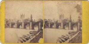 Cattedrale Da Hereford UK Foto Stereo Vintage Albumina Ca 1870