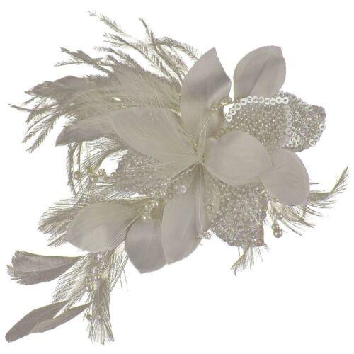 e2046hs Tara Feather Pearl /& Crystal Wedding Hair Flower