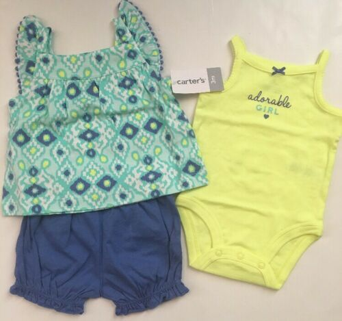 Carter/'s Girl Geo Tank Top Bodysuit Bubble Shorts Size 3 6 Months Blue Green
