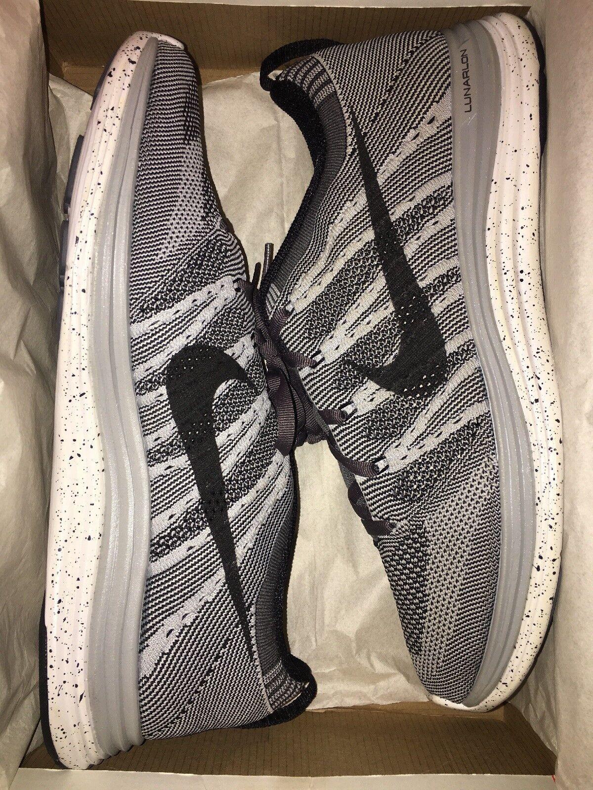 "New Men Nike Flyknit One+ ""Wolf Grey"" Size 10.5 Grey Black-White 554887-001 RARE"
