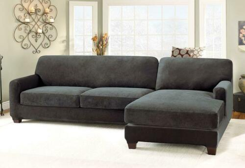 NEW Stretch Pique Five Piece Sectional Slipcover left Chaise Black IN PACKAGE