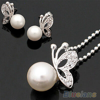 New Arrival Butterfly Pearl Earrings & Necklace Jewelry Set B94U