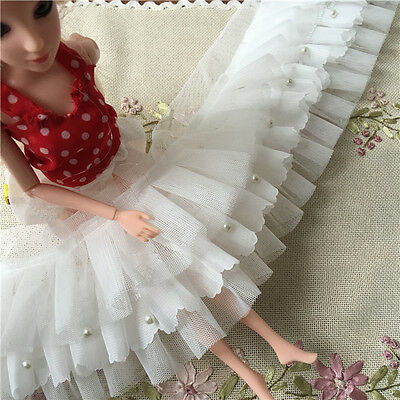 """1 yard Lace Trim Ruffled Ivory Tulle and Chiffon 3 Layer Bead Pearl 3.93"""" width"""