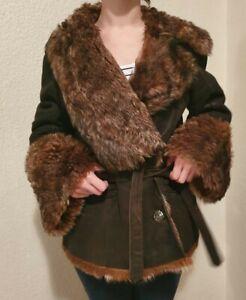 Details zu Damen Schaffelmantel echtes Pelz Gr. 36 38 DE Gebraucht
