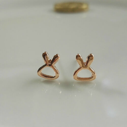 14K//14ct Rose Gold Plated Cute Small Hollow Carved Rabbit//Bunny Stud Earrings
