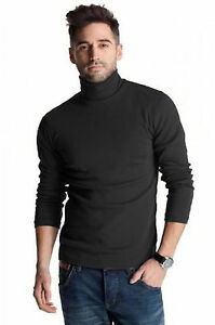 MENS-BLACK-HEAVY-COTTON-300gsm-WINTER-ROLL-RIBBED-NECK-POLO-TOP