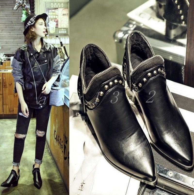Vogue Women Punk Rivet Chunky Heel Ankle Cool Boots Ladies Zip Pointed Toe shoes