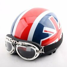 NZI 490004G332 3D Vintage II Union Jack Open Face Motorcycle Helmet S British Flag Detail White//Blue// Red