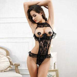 918abb1f5 Image is loading Women-Sexy-Lingerie-Bodysuit-Teddy-Nightwear-Erotic-Lace-