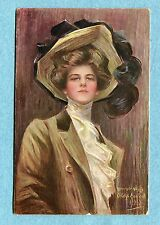 A2137   Postcard  Boileau  Woman in Brown Hat and Coat, Brown Background