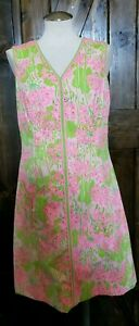 Lilly-Pulitzer-The-Lilly-Vintage-Shift-Sleeveless-Dress-Pink-Green-Floral-Sz-6