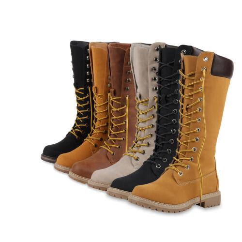 Profil Leder optik Sohle Block Schuhe 813017 Stiefel Absatz Schnürstiefel dwvPXTdq