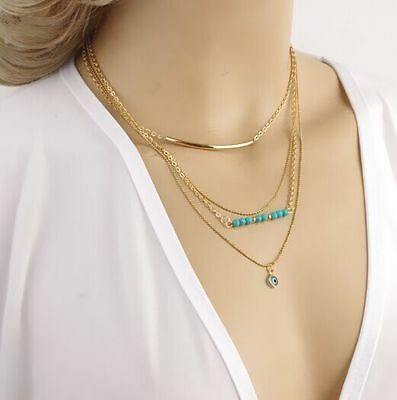 Women Pendant Gold Chain Choker Chunky Statement Bib Necklace Jewelry Charm