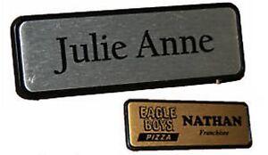 personalised name badge pin back 6 4x1 9cm name tag work badges