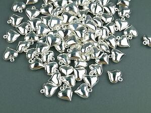 10 Anhänger HERZ Metall Perlen silber glänzend 13x12mm Charm Metallanhänger DIY