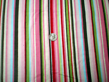 Pretty Pink with Multi Colors Stripe Flannel Fabric