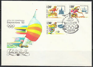 Soviet Russia 1991 FDC cover Barcelona Olympic Games 1992 Soccer,athletic,rowing
