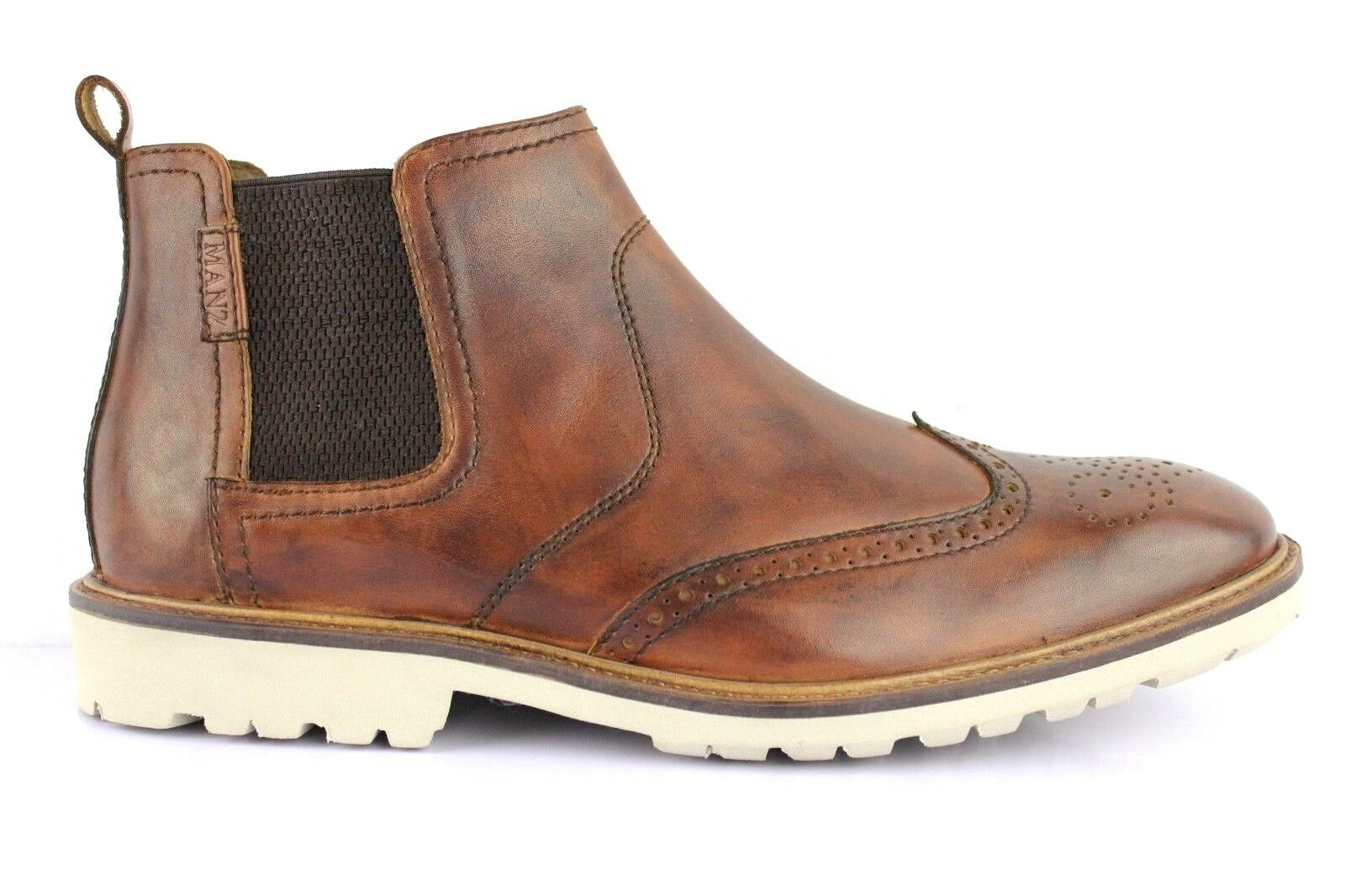 Manz Men's Chelsea Boots Ankle Leather Firenze 146057-03 Brown
