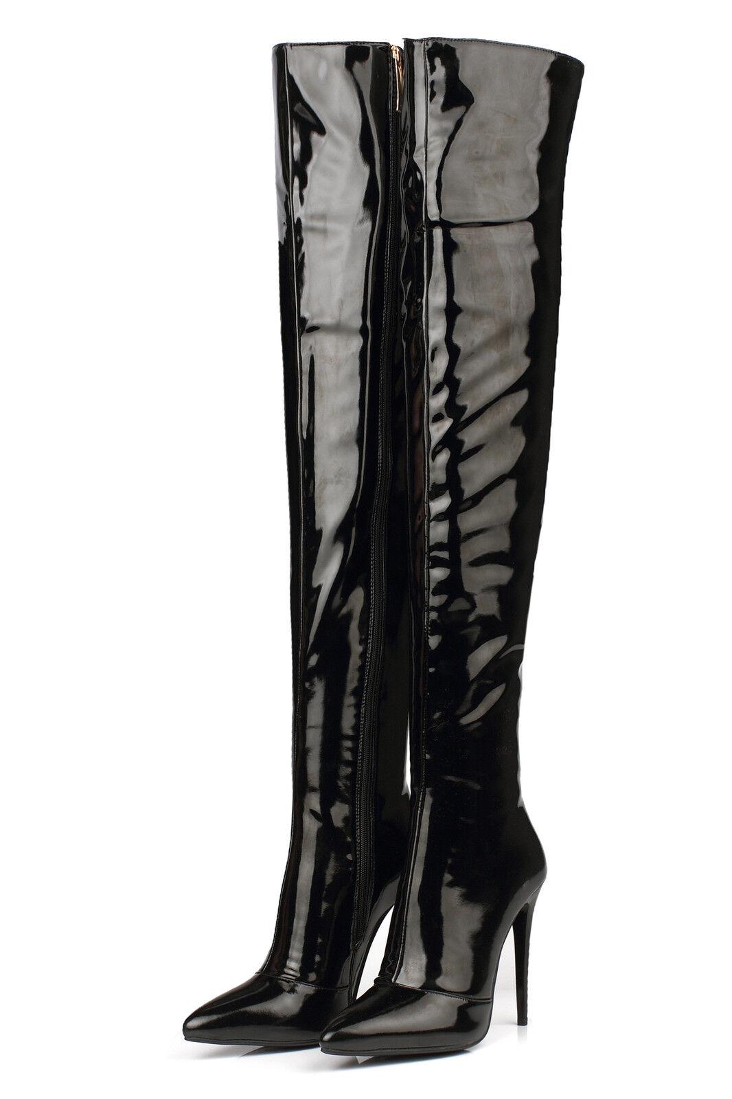 Da Donna in pelle laterali Zipper  A PUNTA a SPILLO Sopra   Zipper Stivali al Ginocchio 11-9 37895d