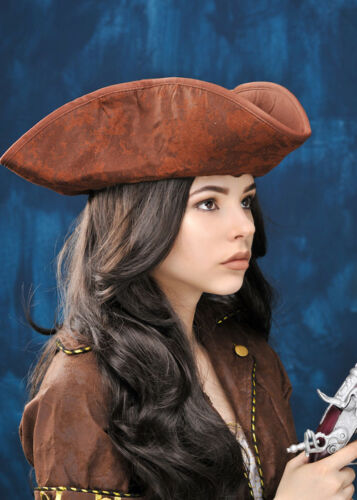 Distressed Brown Tricorn Pirate Hat