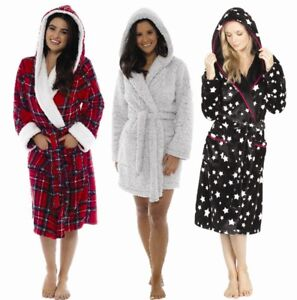LADIES SOFT & COSY HOODED WINTER FLEECE DRESSING GOWN ROBE PLAIN ANIMAL NOVELTY