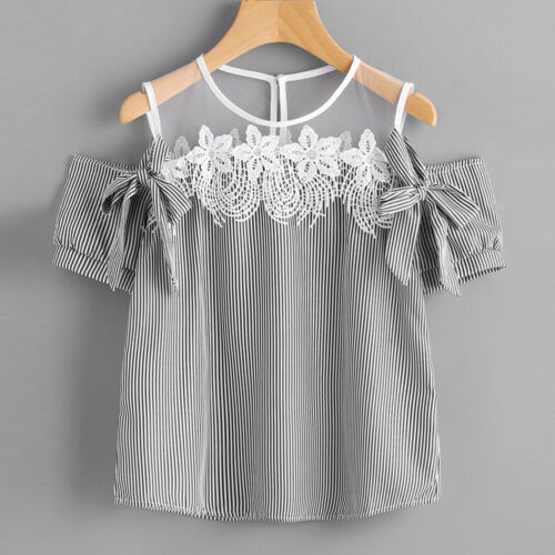 Women Fashion Short Sleeve Off Shoulder Lace Striped Blouse Casual Tops T-Shirt