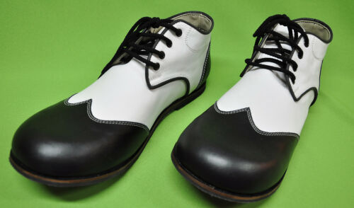 ZYKO Professional Real Leather Clown Shoes Chaplin model  Black//white ZH033