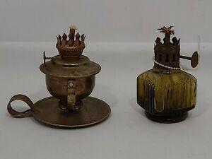 Oil-Lamps-VTG-Miniatures-1-Copper-Swivel-Base-amp-1-Amber-Glass