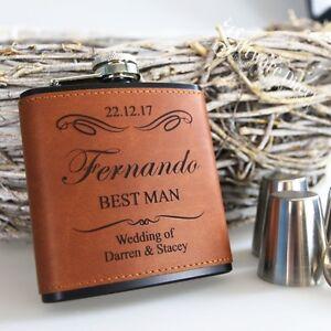 3x-Engraved-Hip-Flask-Gift-Personalised-Wedding-Groomsman-Black-LEATHER-ETTE