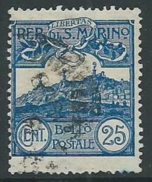 1903 San Marino Usato Veduta 25 Cent - M5-7 Pour ExpéDition Rapide
