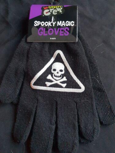 Crâne Avertissement flammes Halloween accessoires-Spandex Gants-Squelette