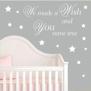 We-made-a-Wish-Wall-Stickers-Decal-Baby-Nursery-Stikers-Kids-Art-Quote