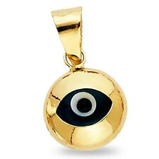 Round Evil Eye Pendant Solid 14k Yellow Gold Turkish Good Luck Charm Polished