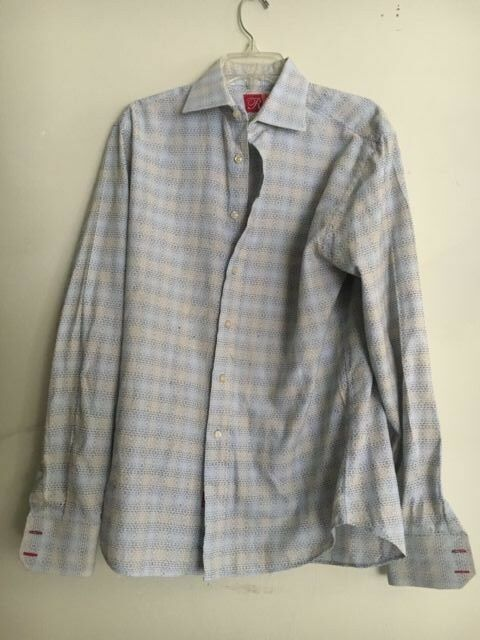RUFUS Tan bluee Design Men Quality Shirts 100% Cotton Size M Modern Made In USA