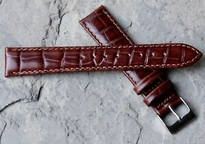 Warm-brown-18mm-crocodile-pattern-Alfred-Hammel-watch-band-fully-stitched-NOS