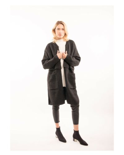 wool blend knitted oversized coat with front pockets black grey green color