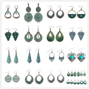 Women-039-s-Vintage-Bohemian-Boho-Tibetan-Carved-Beads-Tassel-Dangle-Studs-Earrings