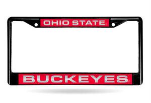 Ohio-State-Buckeyes-Laser-Cut-Black-Chrome-Metal-License-Plate-Frame