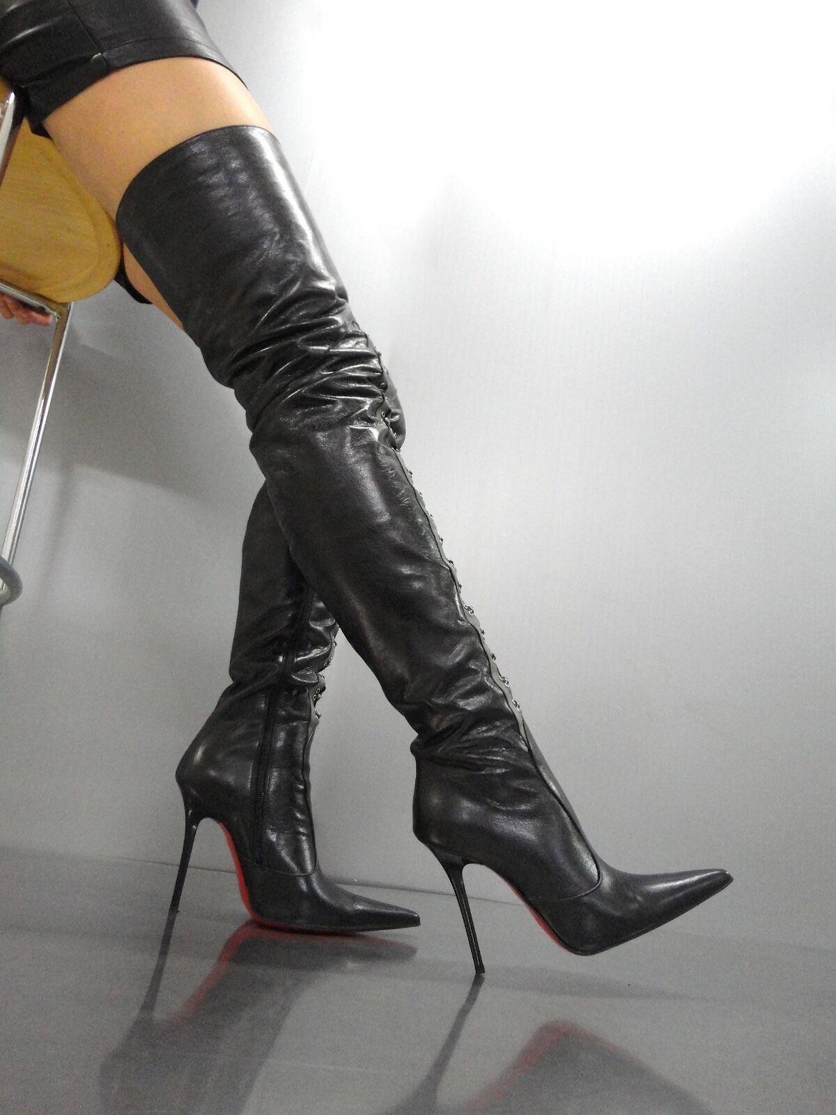 MORI ITALY SEXY OVERKNEE HIGH BOOTS STIEFEL STIVALI LEATHER CORSET black BLACK 39