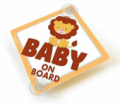 Cute Babies on Board Yellow Car Sign With Suction Cups Two Asian Infants
