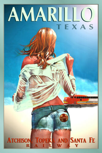AMARILLO Texas SANTA FE Railroad New Pin Up Train Travel Poster Art Print 099