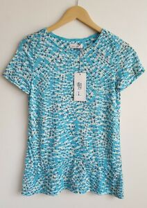 PER-UNA-BY-M-amp-S-LADIES-GREEN-MIX-TSHIRT-TOP-SIZE-8-NEW-WITH-TAGS