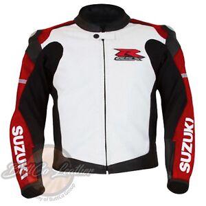 Suzuki-1078-Cuir-Rouge-Veste-Course-Motard-Moto-Motocycliste-Protection