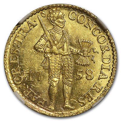 1758 Netherlands/Utrecht Gold Ducat MS-63 NGC