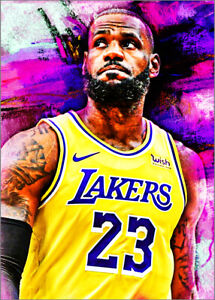 2021-Lebron-James-Los-Angeles-Lakers-4-25-Purple-Art-ACEO-Print-Card-By-Q