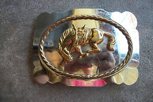 vintage-western-BUCKING-BRONCO-belt-buckle-championship-trophy-cowboy-rodeo